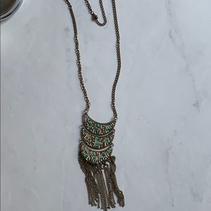 Jewelry - Necklace with turquoise, coral and orange beads